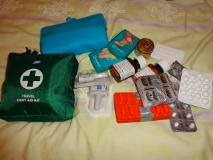 Personal first aid kit, personal toiletries kit and personal whole bunch of medications that I probably won't need but have 'just in case'.