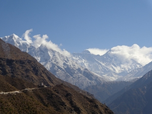 Everest, peaking out in the distance (middle peak)