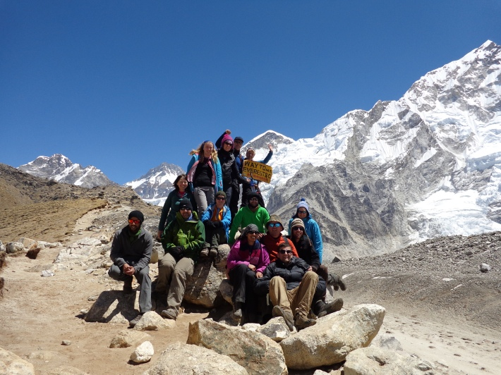 Group picture at the sign on the way to Base Camp.  Miss you guys loads!!